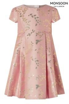 Monsoon Pink Baby Sadie Jacquard Dress