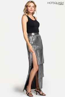 HotSquash Silver Tiered Maxi Skirt