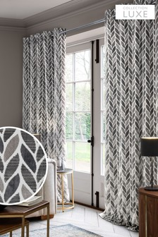 Grey Collection Luxe Velvet Leaf Eyelet Curtains