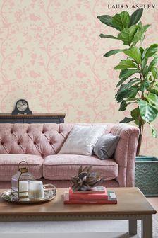 Laura Ashley Chalk Pink Oriental Garden Pearlescent Wallpaper