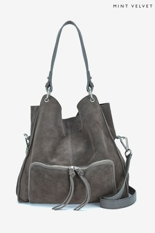 Mint Velvet Grey Nelly Charcoal Suede Tote Bag