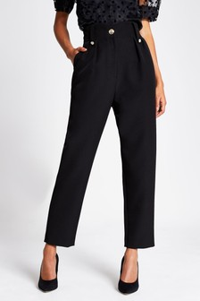 River Island Black Pleated Button Peg Trousers