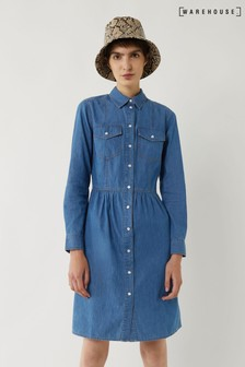 Warehouse Blue Waisted Seamed Shirt Dress