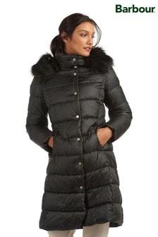 Barbour® Tartan Luxe Faux Fur Trim Longline Padded Jacket