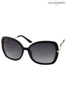 Accessorize Black Sophie Metal Detail Square Sunglasses
