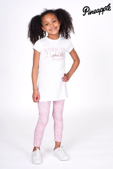 Pineapple T-Shirt Dress & Leopard Print Leggings Set
