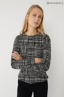 Warehouse Black Brushed Check Belted Top