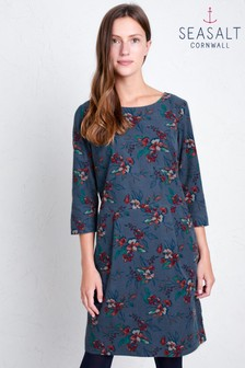Seasalt Blue High Key Newlyn Flowers Monty Blue Dress