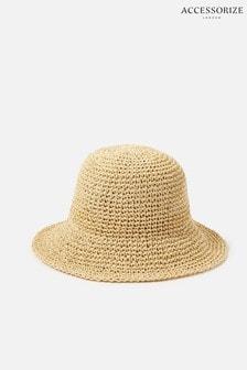 Accessorize Natural Sally Straw Bucket Hat