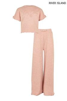 River Island Pink Marl Daydream Flared Pyjama Set