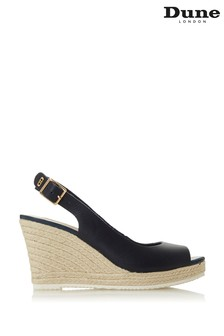 Dune London Knox 2 Navy Leather Peep Toe Espadrille Wedge Heel Sandals