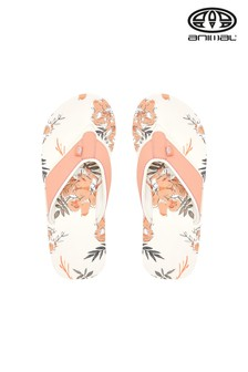 Animal Cream Swish Print Flip Flops