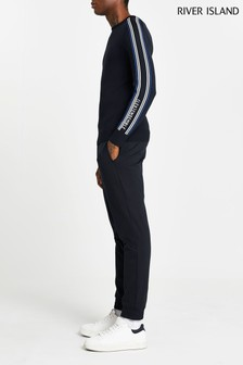 River Island Navy Turbo Branded Jumper