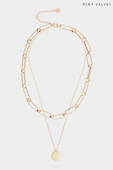 Mint Velvet Gold Tone Layered Chain Necklace
