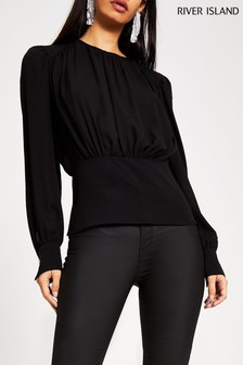 River Island Black Sophie Barwear Top