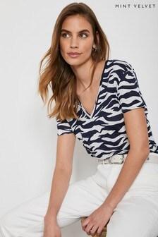 Mint Velvet Navy Zebra Print Linen T-Shirt
