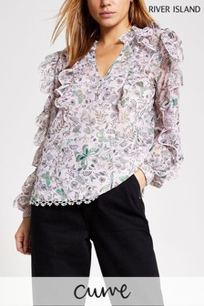 River Island Pink Light Long Sleeve Printed Top