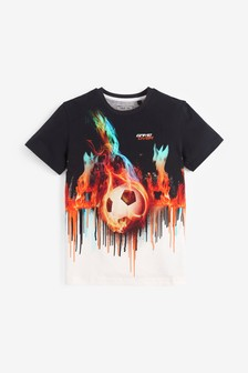 Digital Football Flames T-Shirt (3-16yrs)