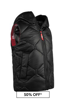 Boys Black Quilted Vest With Lenses