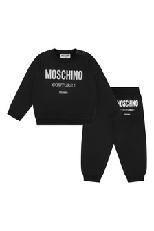 Baby Black Cotton Logo Tracksuit