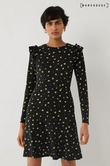 Warehouse Black Micro Floral Frill Mini Dress