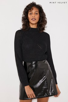 Mint Velvet Black Patent PU Mini Skirt