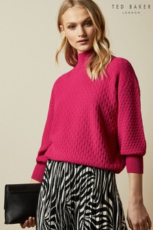 Ted Baker Pink Imoginn Stitch Detail Chunky Knit Jumper