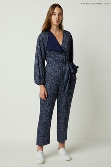 French Connection Blue Chinwe Print Mix Jumpsuit