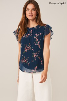 Phase Eight Blue Riley Floral Blouse