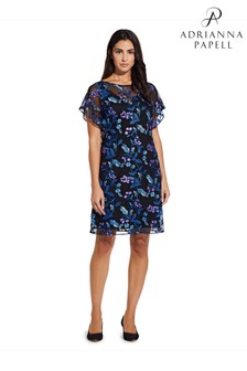 Adrianna Papell Purple Vine Floral Embroidered Shift Dress