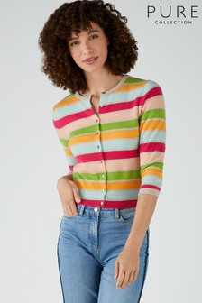 Pure Collection Multi Stripe Cashmere Cropped Cardigan