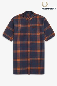 Fred Perry Check Oversized Shirt Dress