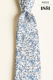 Moss 1851 White With Navy & Sky Branch Print Silk Oxford Tie