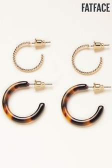 FatFace Gold Metal And Resin Hoop Earrings