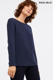 White Stuff Blue Tilly Texture Jersey T-Shirt