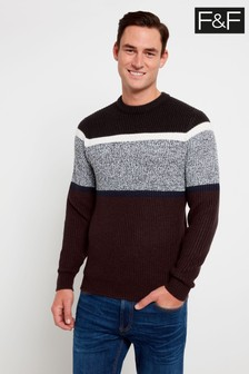 F&F Burgundy Fisherman Block Stripe Jumper