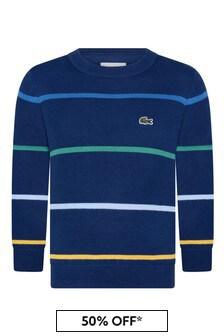 Lacoste Kids Boys Navy Striped Crew Neck Sweatshirt