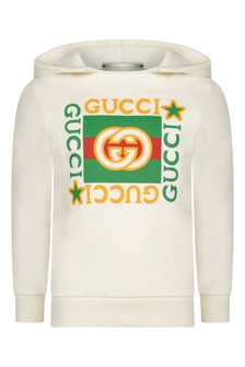 Kids White Cotton Vintage Logo Hoody