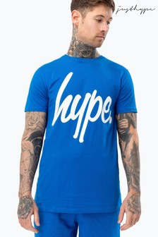Hype. Blue Script Mens T-Shirt