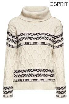 Esprit Cream Jacquard Roll Neck Sweater