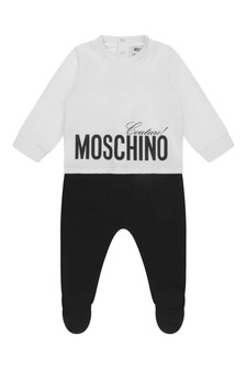 White & Black Cotton Babygrow