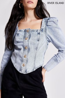 River Island Denim Light Puff Sleeve Square Neck Jacket