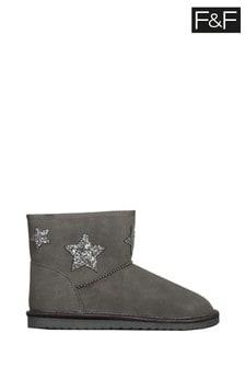 F&F Grey Star Snug Boots
