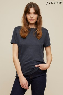 Jigsaw Grey Linen Crew Neck T-Shirt