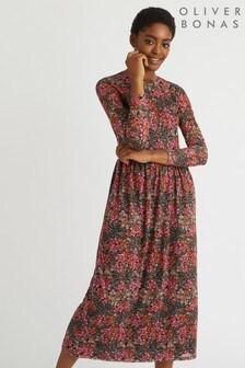 Oliver Bonas Winter Blossom Printed Mesh Dress