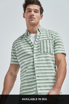 Stripe Linen Blend Short Sleeve Shirt