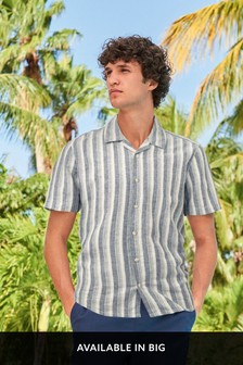 Textured Stripe Linen Blend Shirt