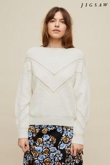 Jigsaw Cream Crop Boxy Rib Pointelle Crew Sweater