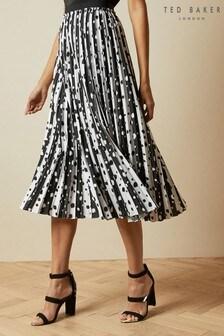 Ted Baker White Vyvian Polka Dot Pleated Midi Skirt