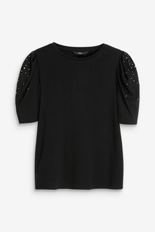 Embellished Puff Sleeve Top